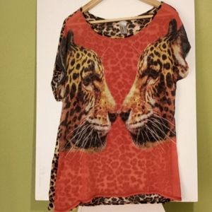 Color Block Cheetah Face Animal Print Top Size XL